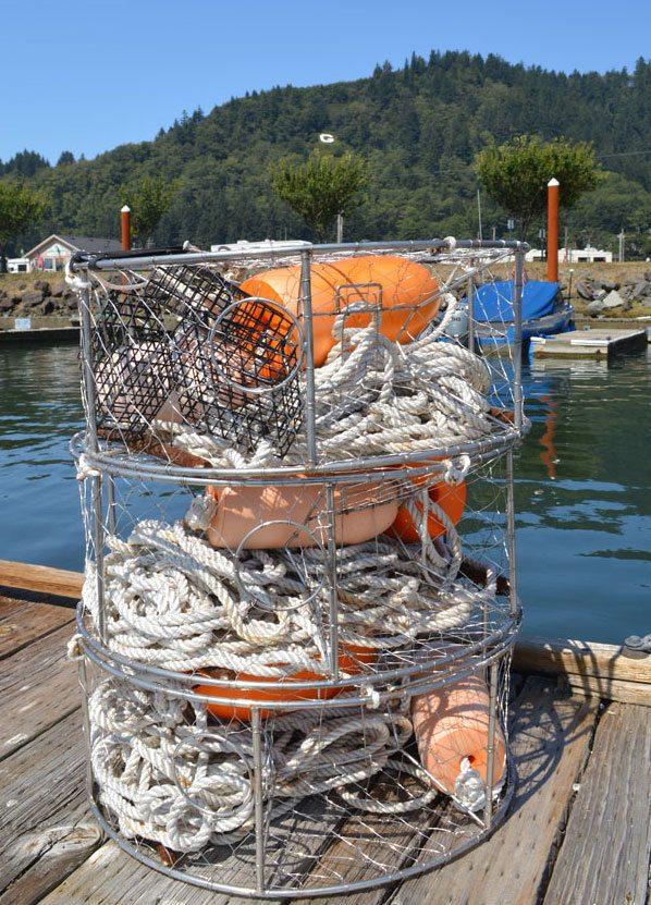 Crabbing equipment on dock overlooking water