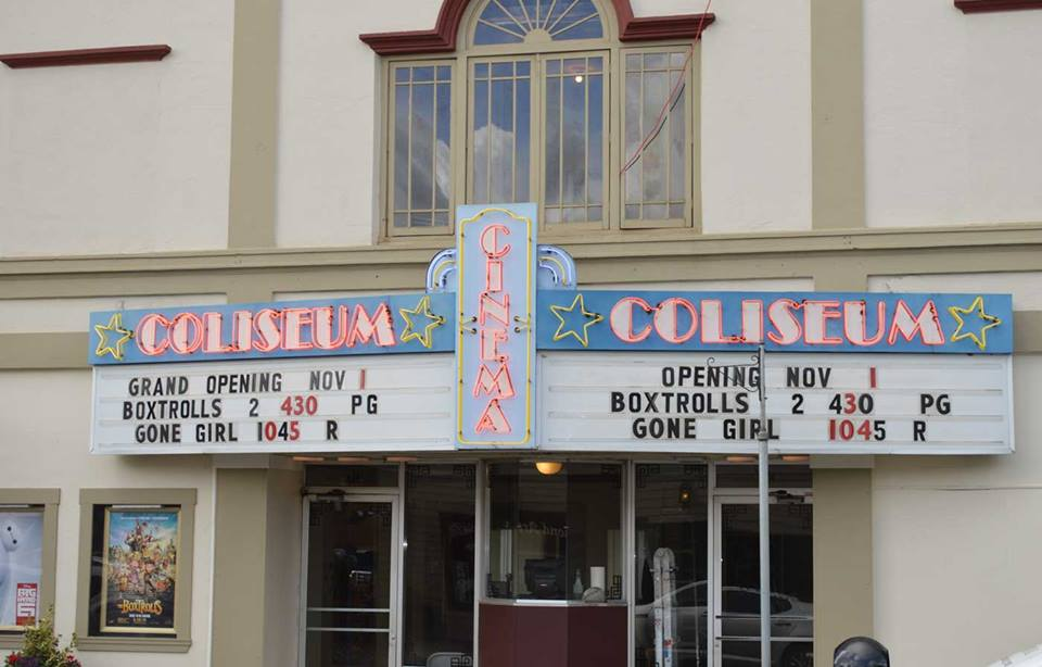 Tillamook Coliseum front entrance with movie titles