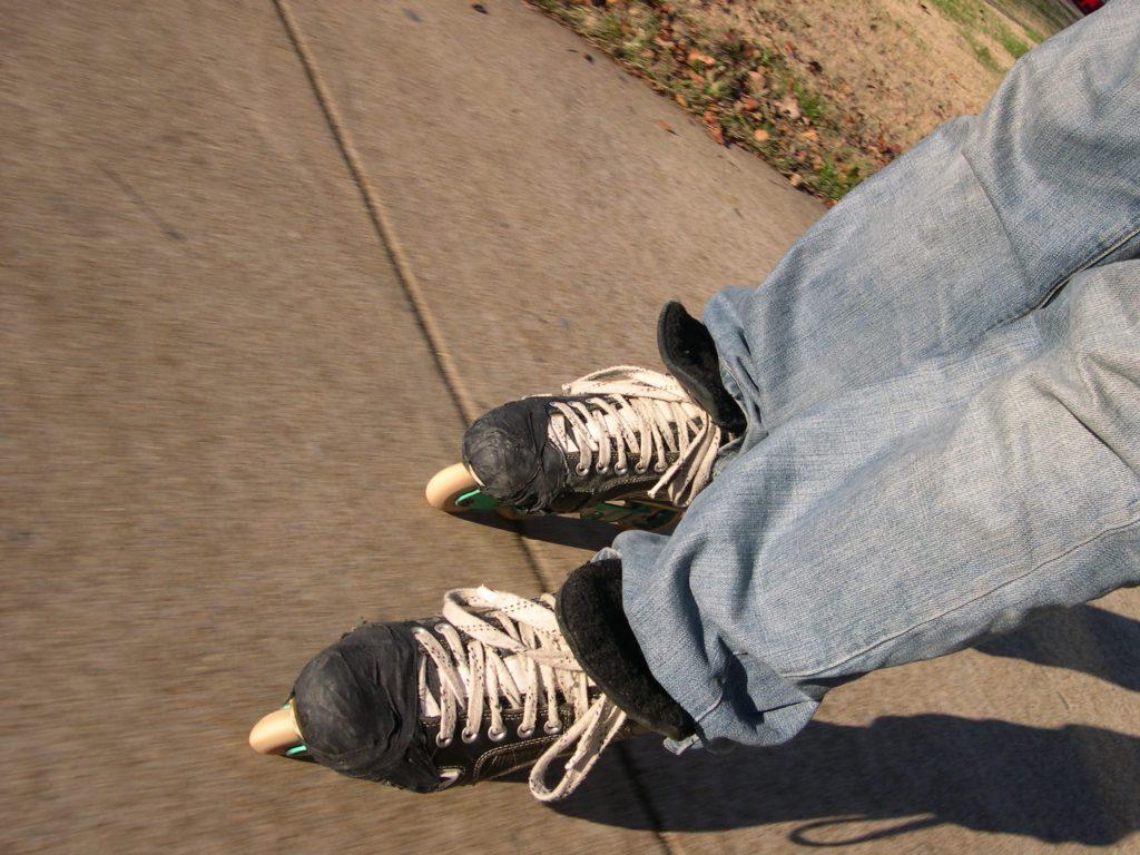 Roller skates on pavement