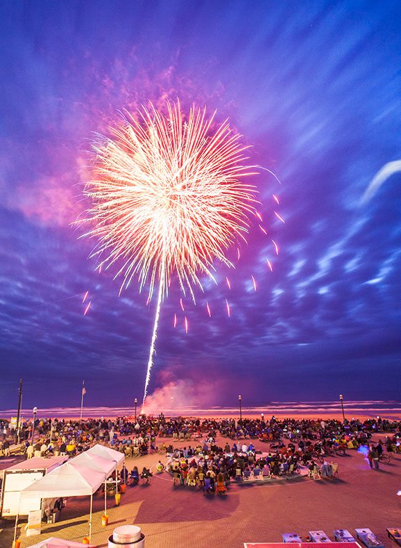 Fireworks display at Rockaway Beach, July 4