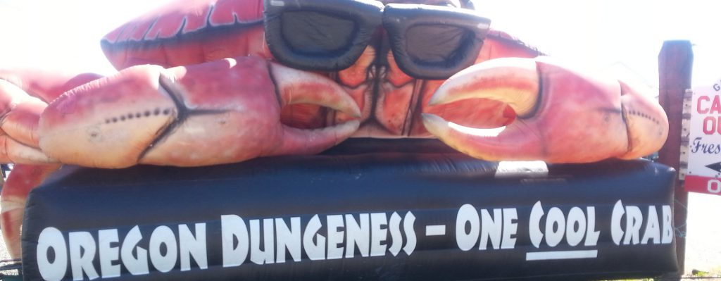 Giant inflatable crab mascot