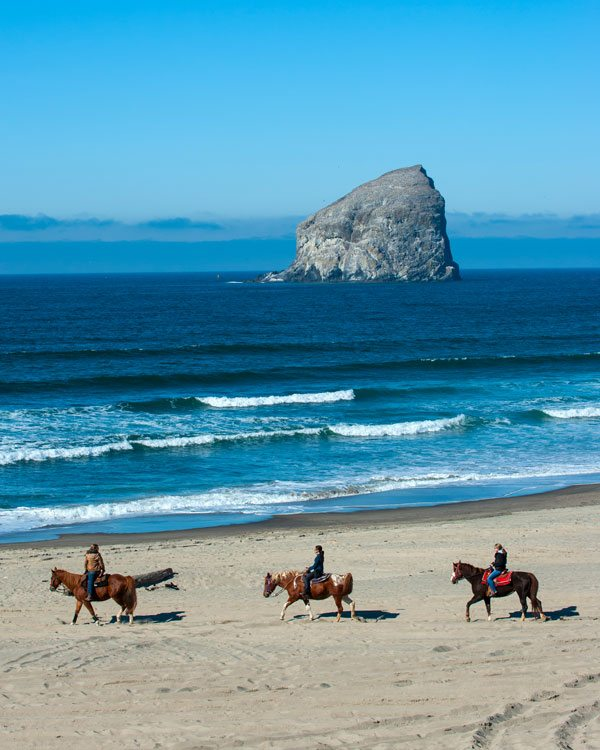 Three people on horseback in a line along the beach