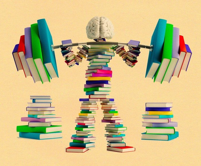 Person made of books lifts dumbbells (made of books)