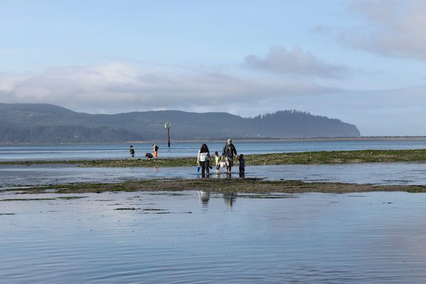 People walking on sand flats at low tide