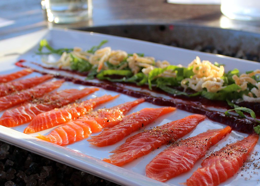 Coho Belly Sashimi Saketoro at The Schooner Restaurant Lounge - photo by Carrie Uffindel