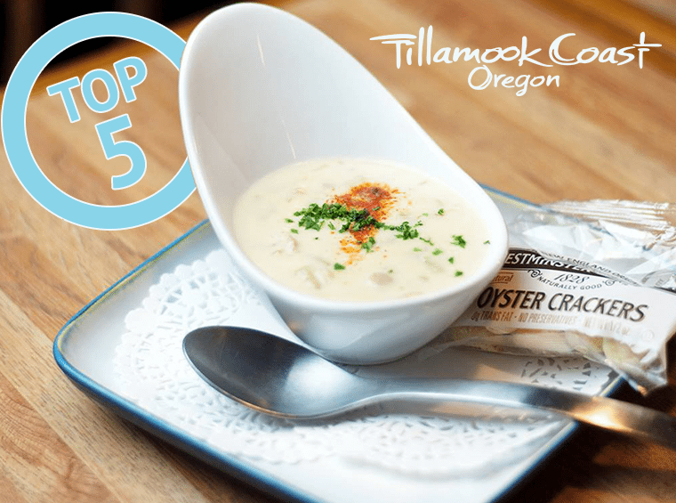 Top 5 on the Tillamook Coast - bowl of clam chowder with oyster crackers