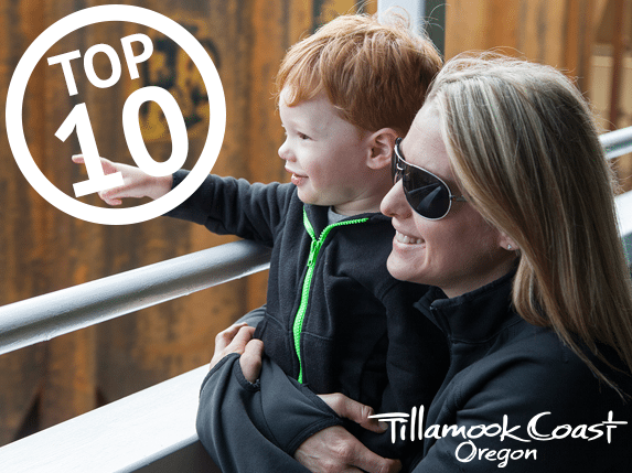Top 10 on the Tillamook Coast - woman and child looking out from train