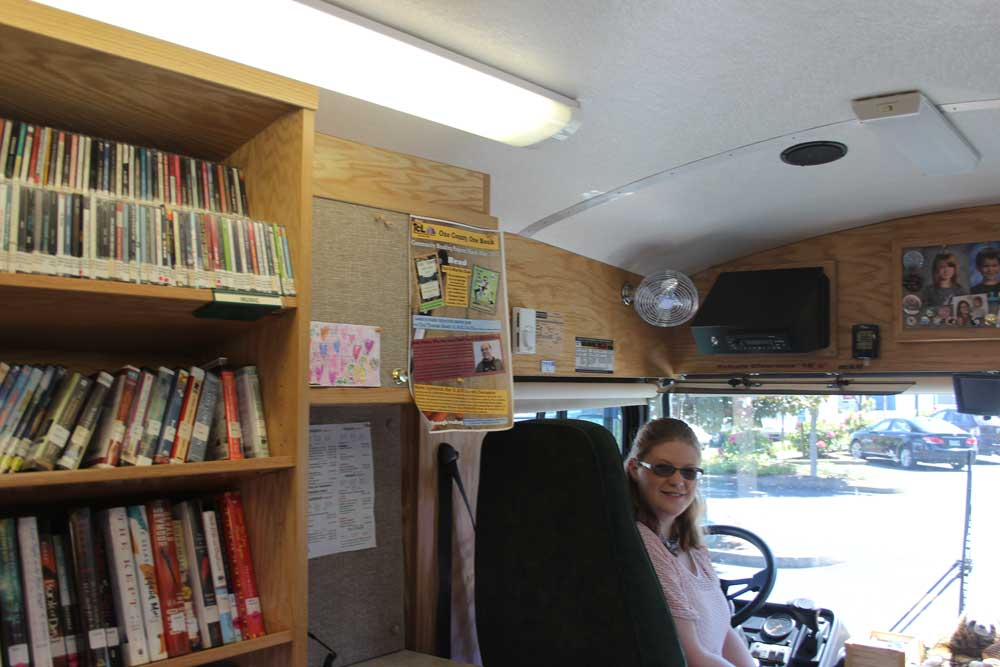 In the driver's seat of the Tillamook County Library Bookmobile