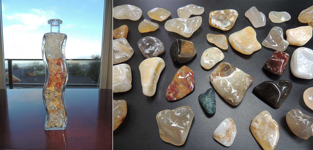 Polished stones from Tillamook Coast beaches on display in Cape Meares.