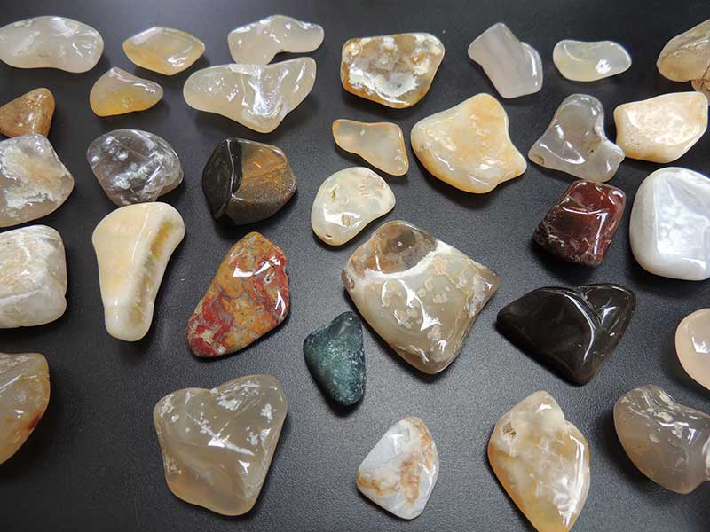 Polished stones on display in Cape Meares