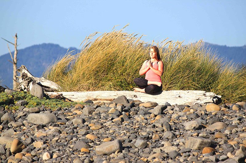 Yoga meditate and listen to nature