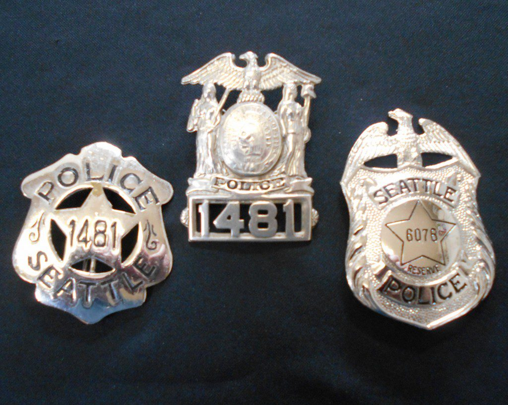Three police badges from Seattle