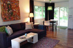 Contemporary living room in Manzanita vacation rental