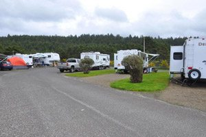 Parking lot of the Cape Kiwanda RV Park