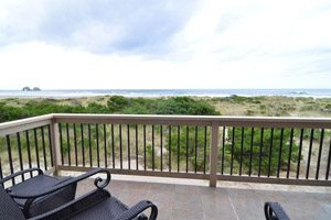 Small balcony with view of ocean
