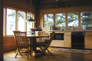 Kitchen with windows and wooden walls and floors