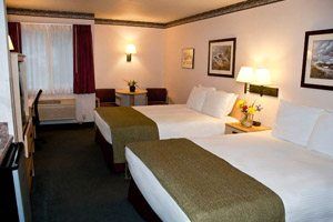 Hotel room with two double beds and green blankets