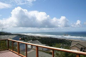 Balcony view of ocean and sky