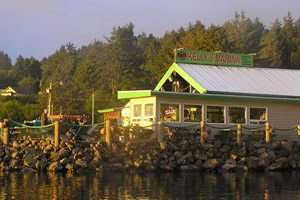 Outside of the crab shack, sitting just off the water