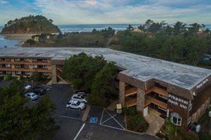 Aerial view of the inn off the beach