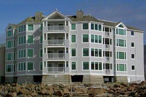 Multi-story hotel off the beach
