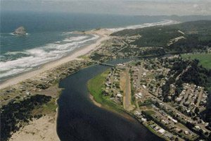 Aerial view of town and beach