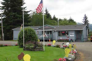 RV Park office: Blue one-story building