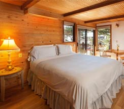 Bedroom with wooden floor and walls