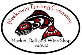 Neskowin Trading Company logo: fish in style of Native American art