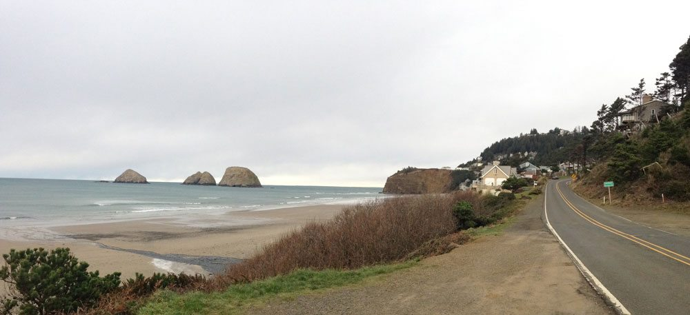 Beach next to the road
