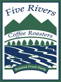 Five Rivers Coffee Roasters logo: silhouette of mountains, trees and water in the foreground