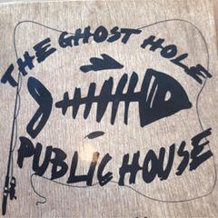 The Ghost Hole Public House logo: fish skeleton and fishing pole