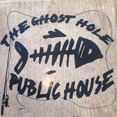 The Ghost Hole Public House logo: fish skeleton and fishing pole
