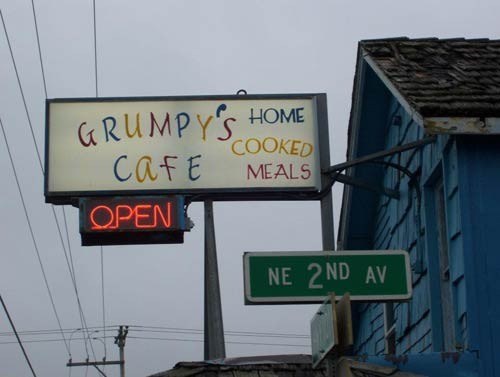 Sign for home-cooked meals at Grumpy's Cafe