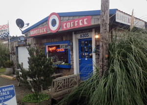 Exterior of coffee shop with blue door
