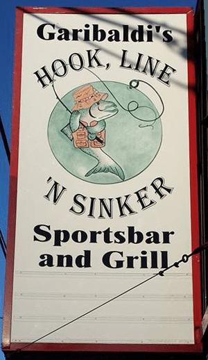 Garibaldi's Hoof, Line 'n' Sinker Sportsbar and Grill sign