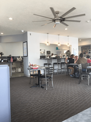 Cafe tables and ceiling fan