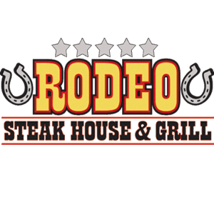 Rodeo Steak House & Grill logo: horseshoes and stars on either side of the words