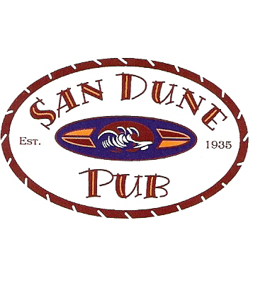 Sand Dune Pub logo with surfboard