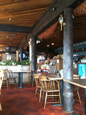 Restaurant interior with exposed wood
