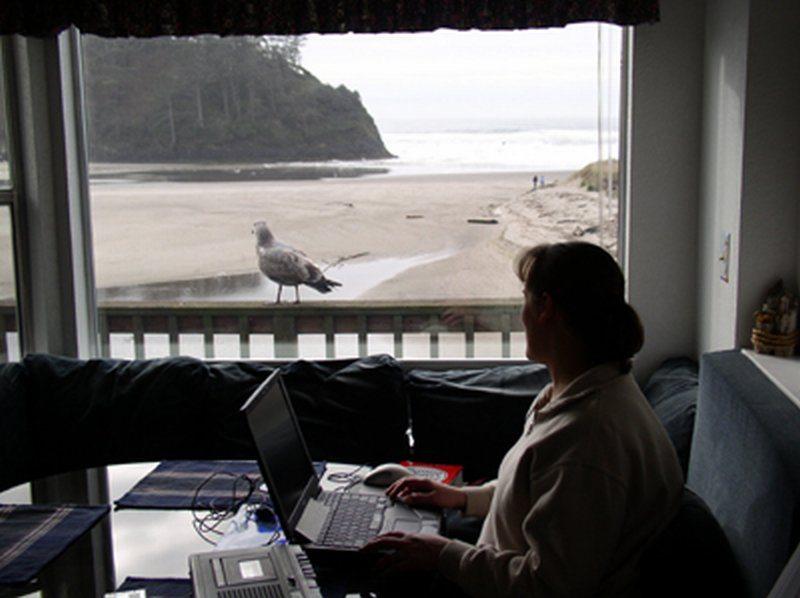 Woman working on laptop next to beachfront window