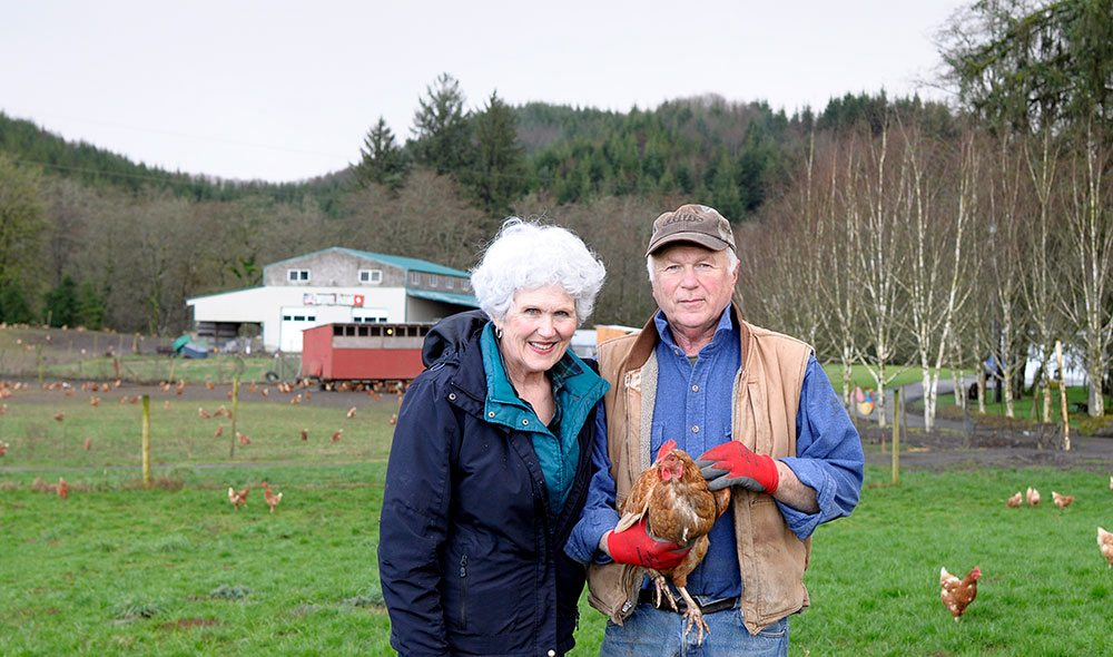 Man and woman stand on farm holding a small brown hen with more chickens in background