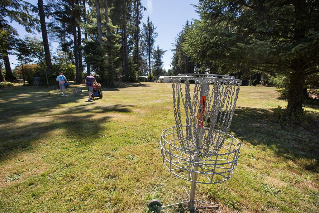 Disc golf target with players in background