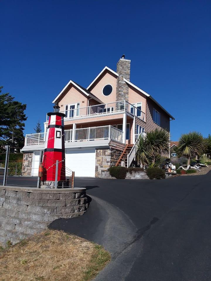 Pink three-story house