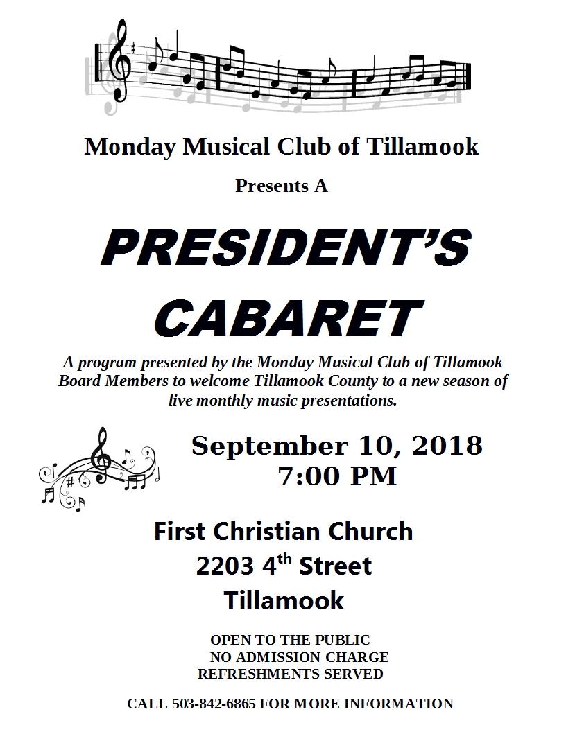 Presidents Cabaret September 2018