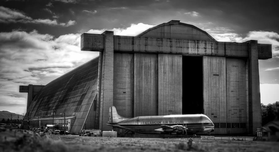plane and hangar
