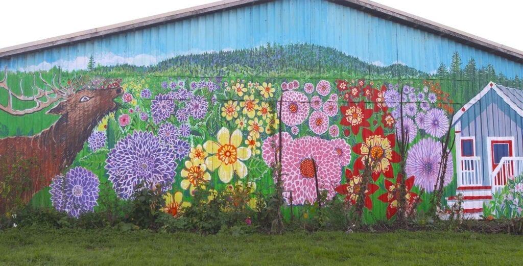 Old House Dahlias mural